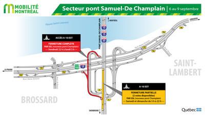 Secteur pont Samuel-De Champlain et R132 à Brossard, fin de semaine du 6 septembre (Groupe CNW/Ministère des Transports)