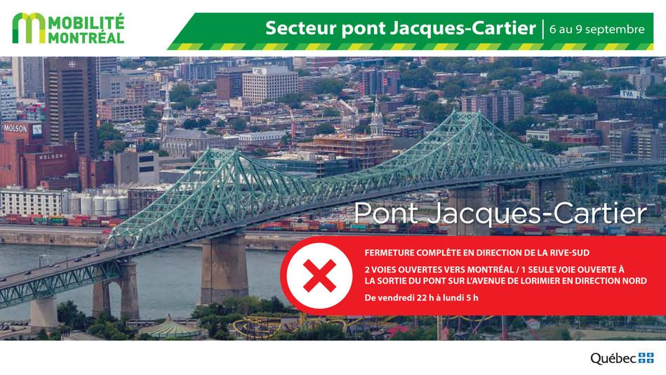 Fermeture pont Jacques-Cartier (PJCCI), fin de semaine du 6 septembre (Groupe CNW/Ministère des Transports)
