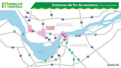 Carte générale des entraves, fin de semaine du 6 septembre (Groupe CNW/Ministère des Transports)