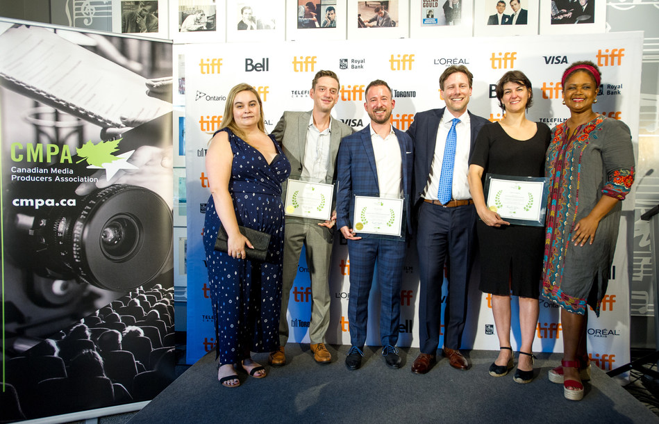 CNW-CMPA-09.05.19-TORONTO, ON: LtoR (Awards Jury Chair, Caitlin Grabham. Keven Teirney Emerging Producer Award winners Fraser Ash, and Kevin Krikst. CMPA CEO Reynolds Mastin. Established Producer Award winner Felize Frappier and Established Producer Award Jury member Tonya Williams at the 2019 CMPA Indiescreen Awards in Toronto. (CNW Group/Canadian Media Producers Association (CMPA))