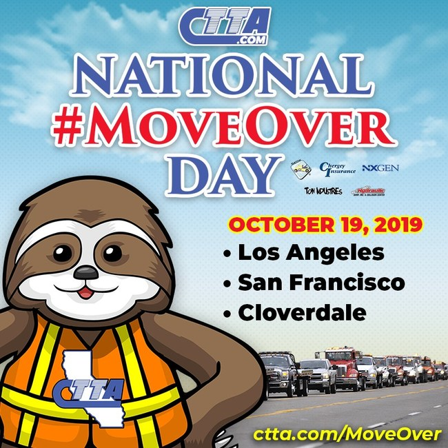 Join Sammy the CTTA Slow Down Sloth to promote California's Move Over law!