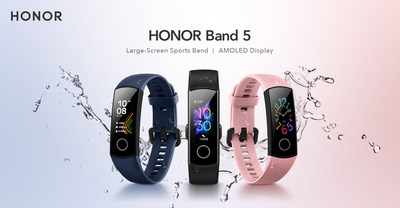 HONOR Band 5 is available in Classic Navy blue, Meteorite Black and Dahlia Pink