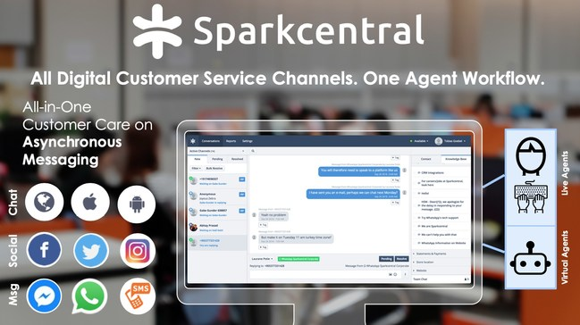 Sparkcentral's all-in-one digital messaging platform brings together messaging, social, web chat as well as in-app chat and combines all into one universal queue for digital agents.