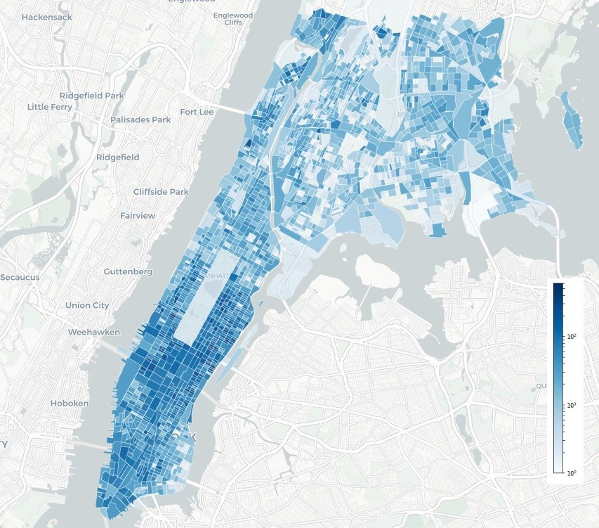 The highest number of short-distance trips in Manhattan occur in Midtown and the Upper East Side (concentration of dark blue Census Blocks in Figure 2).