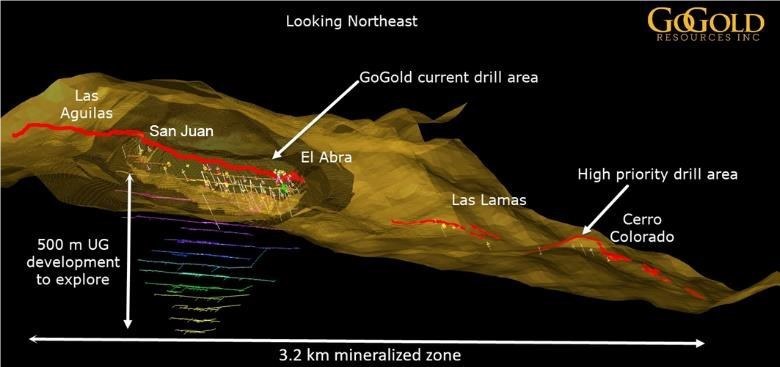 Figure 2 provides a 3D view of the Los Ricos property surrounding the historical underground workings at the Main Area, with the location of the other zones shown. (CNW Group/GoGold Resources Inc.)