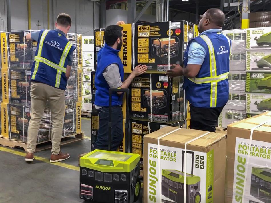 Snow Joe® warehouse crew hard at work preparing to ship FIRMAN® and Sun Joe® generators as part of the #GenerateHope initiative to assist in the hurricane Dorian relief efforts.