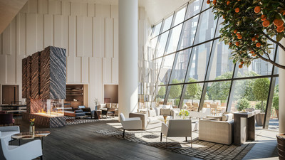 Each residential building offers a suite of curated amenities spaces including residents' lounges with gas-burning fireplaces, private dining rooms, media rooms, game rooms, libraries and furnished terraces.