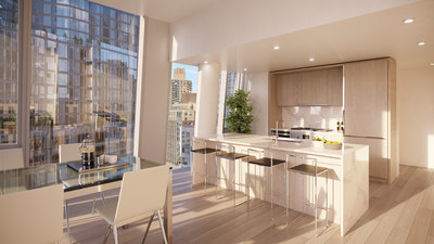 Waterline Square's expansive residences have high ceilings with floor-to-ceiling windows that provide bright, light-filled interiors.