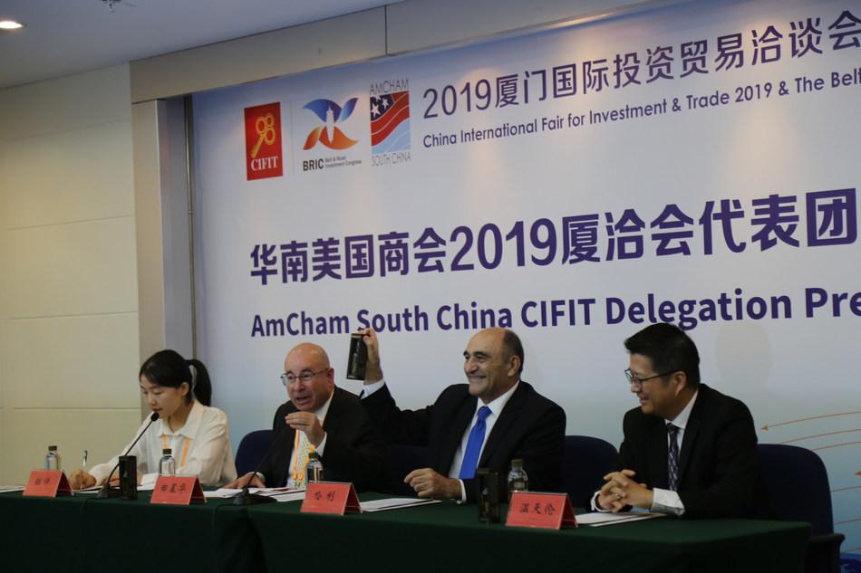 AmCham South China President Dr. Harley Seyedin (R2), Treasurer Tim Wen (R1), and Governor Tim Shaver (L2)