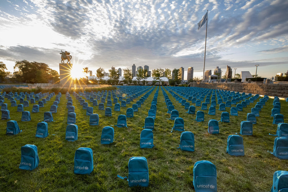 On 8 September 2019, a UNICEF installation highlighting the grave scale of child deaths in conflict during 2018 on the North Lawn at the United Nations Headquarters. © UNICEF/UN0341974/ (CNW Group/UNICEF Canada)