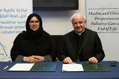 Sultana Afdhal (left), CEO of the World Innovation Summit for Health, and Archbishop Vincenzo Paglia, President of the Pontifical Academy for Life