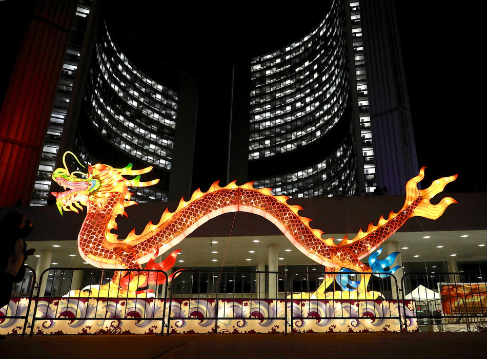 2019 Toronto Dragon Festival features the city's largest dragon lantern on Nathan Phillips Square. (CNW Group/Canadian Association of Chinese Performing Arts)