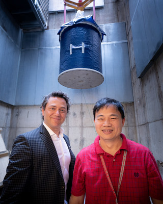 "The NMR is the centerpiece of the department's expansion, which is being led by Charalampos ""Babis"" Kalodimos, Ph.D., department chair (left).  On right is Youlin Xia, director, Center for Biomolecular NMR Spectroscopy, Structural Biology."