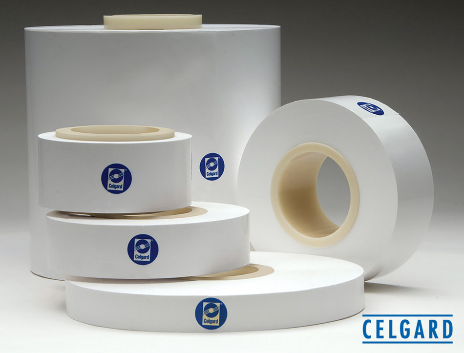 Celgard® microporous coated and uncoated membranes used as separators in various lithium-ion batteries.