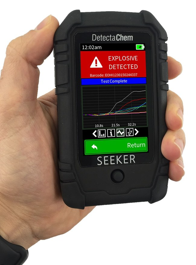 The SEEKERe is a handheld explosive detection technology that enables fast, easy and reliable detection of even trace amounts of explosive material. Innovative solutions like this one from DetectaChem are helping to keep the public safer in a range of situations from mass transit to event venues to hotels and public spaces.