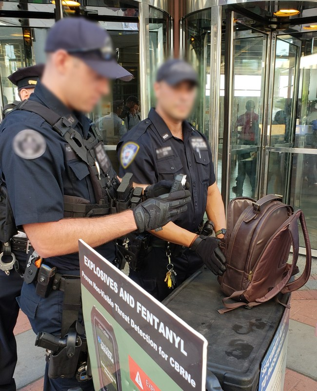 DetectaChem is a leader in innovative handheld explosive and drug detection solutions that can be used in a wide range of scenarios. DetectaChem has been invited for the second year in a row to support a security surge in the Metro NYC area during the September 11th anniversary and is providing devices and training resources in support of law enforcement and first responders.