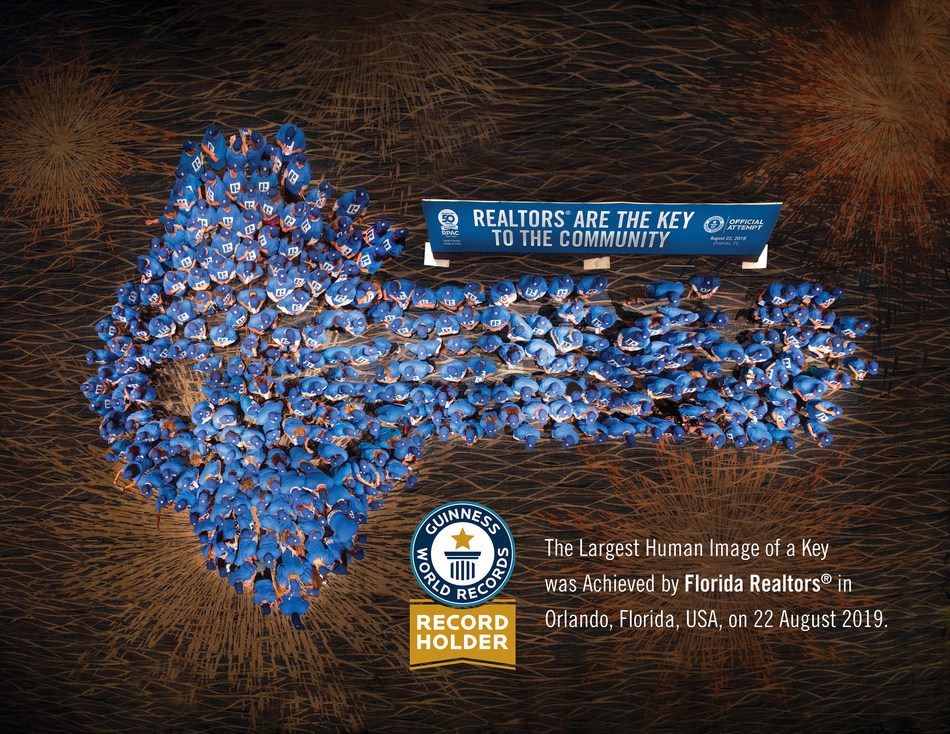 Showing that Realtors® are the key to homeownership, members of Florida Realtors® now hold a GUINNESS WORLD RECORDS® title. (PRNewsfoto/Florida Realtors)