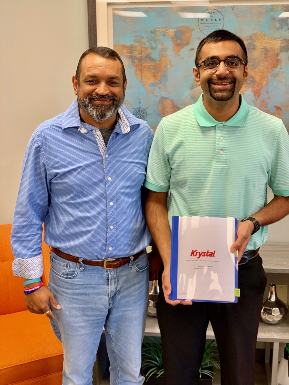 Krystal's newest franchisees, Junior Das and Andy Patel of Slider Joint, LLC, are bringing Krystal back to Jonesboro, Arkansas. Founded in Chattanooga, Tennessee in 1932, Krystal is the South's original quick-service restaurant and was selected to USA Today's 2019 Top-10 Best Regional Fast Food List.