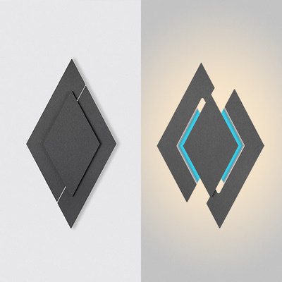 The apex wall sconce visually creates movement due its geometric nature. When turned on, the two outer halves move outward to create a unique shape with the contrast of white light highlighting the outer shape of the design. A user-selectable splash of color adds another element of visual appeal by highlighting its center shape. Can be mounted vertically or horizontally Available in three finishes.