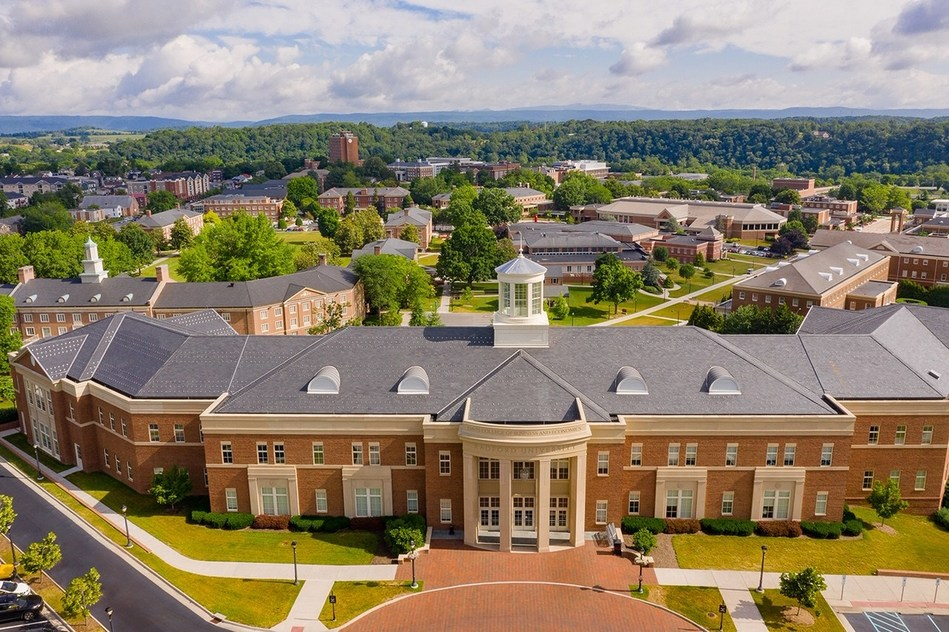 An aerial view outside of Kyle Hall with Radford University's campus in the background. Davis College of Business and Economics, DCOBE