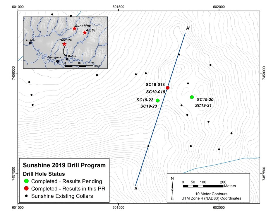 Figure 4- Map Showing Location of 2019 Drilling Program at Sunshine (CNW Group/Trilogy Metals Inc.)