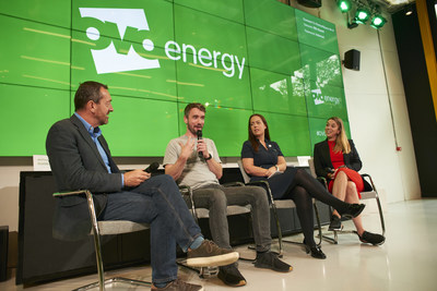 OVO Energy Innovation Showcase; harnessing innovation in cycling in pursuit of a zero carbon future. (L-R) Chris Boardman MBE, Sophie Muller (OVO Energy), Russell Gundry (Plexal) and Dr Kerry Baker (STEM Learning)
