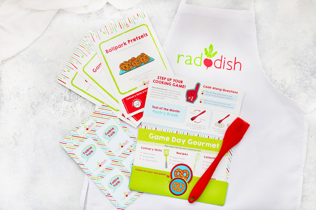 """The new Raddish folder introduces the kit's theme, stores all of the kit's contents, displays the collectible apron patch, announces the tool of the month, features games/activities and shares how to access """"Bonus Bites""""-the expansive library of free online content."""