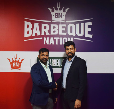Ahmed Raza, CTO, Barbeque Nation (left) with Sourabh Gupta, CEO, Vernacular.ai