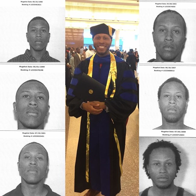 Victor posted this collage on Facebook, as he proudly wore his Ph.D. regalia as he reflects on his dark past.