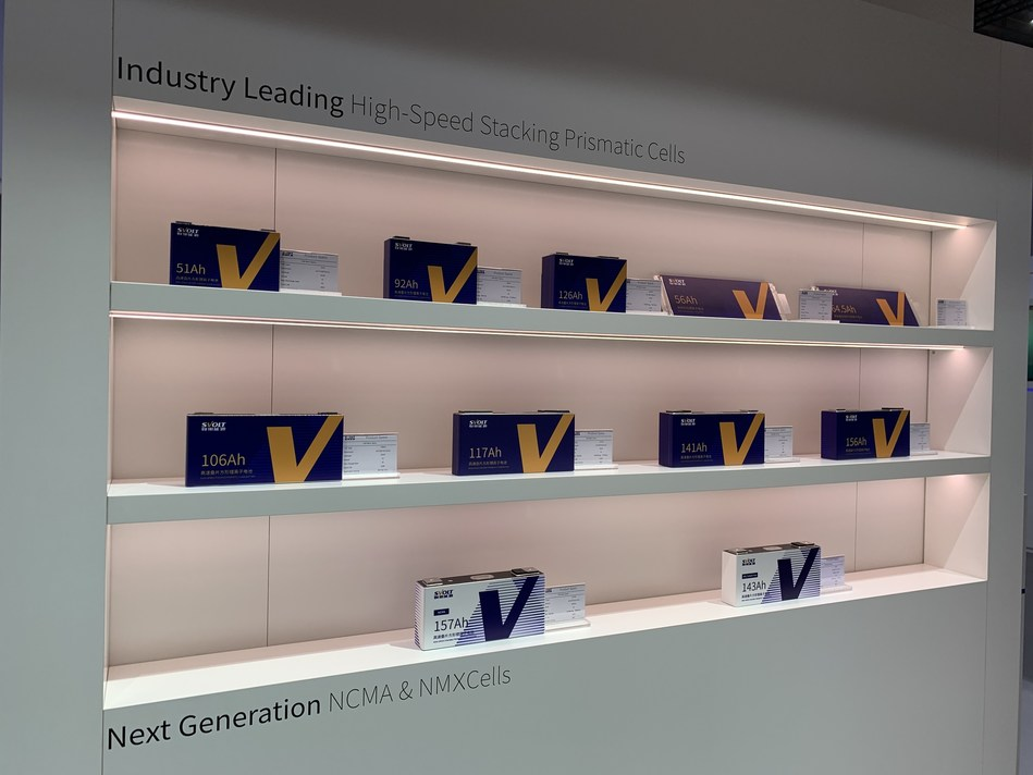 "SVOLT Energy unveiled its full range of new lithium-ion battery cells featuring ""stacking technology"" at the IAA show"