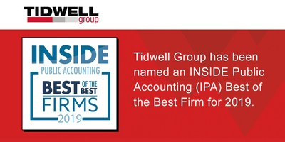 Tidwell Group has been named an INSIDE Public  Accounting (IPA) Best of the Best Firm for 2019.