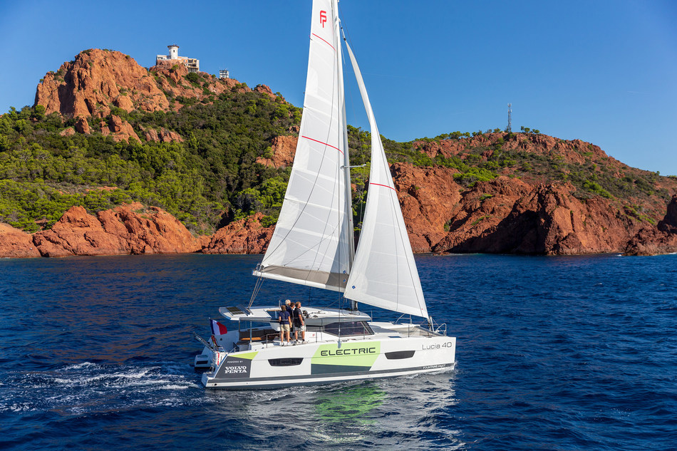 Volvo Penta and Fountaine-Pajot's concept electric sailing catamaran makes waves at Cannes Yachting Festival 2019