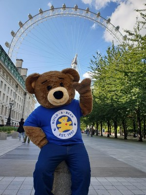 Build-A-Bear's huggable mascot, Bearemy, celebrating National Teddy Bear Day in London, England