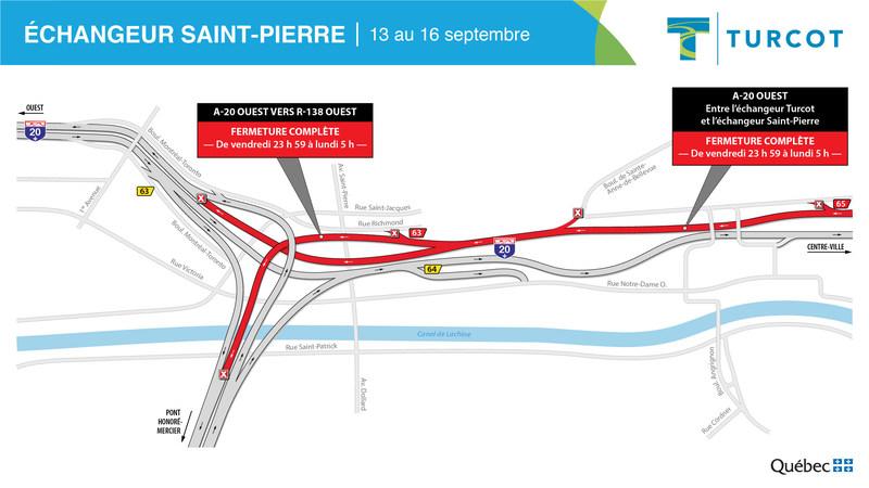 Fermetures – Échangeur Saint-Pierre (Groupe CNW/Ministère des Transports)