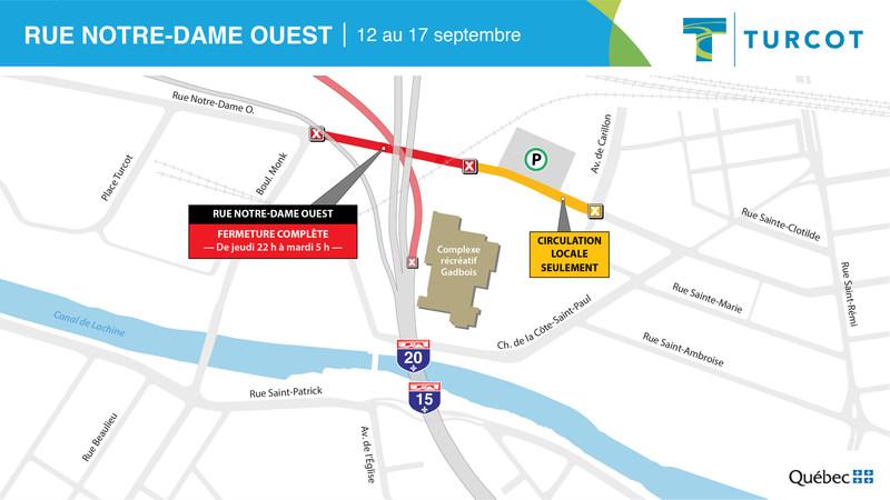 Fermeture – rue Notre-Dame Ouest (Groupe CNW/Ministère des Transports)