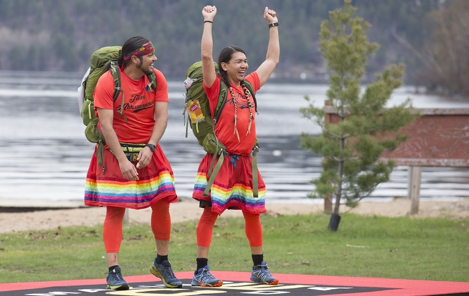 Two-spirit married couple Anthony and James, from amiskwaciy-wâskahikan (Edmonton, Alta.), Treaty Number Six Territory, win Season 7 of CTV's THE AMAZING RACE CANADA. (CNW Group/CTV)