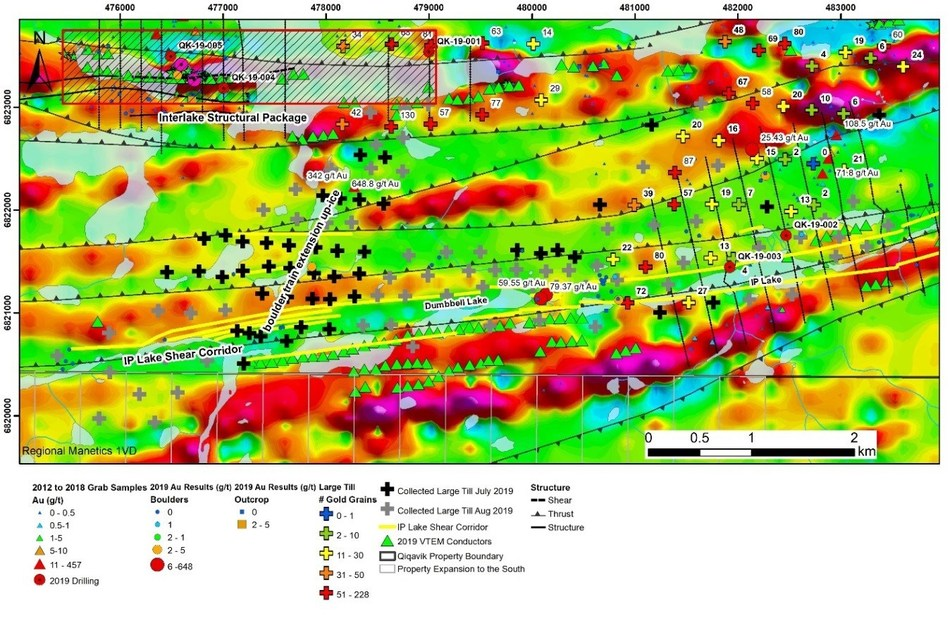 Figure 2: Interlake Structural Package and IP Lake Shear Corridor. Ice direction is SW to NE (CNW Group/Orford Mining Corporation)