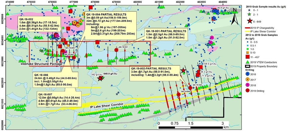 Figure 4:  Interlake and IP Lake Shear Zone Areas – Geology and Drilling Results to–date (CNW Group/Orford Mining Corporation)