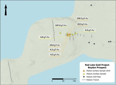 Figure 1. Boyden prospect area showing recent sample locations collected by Pacton with historic trenching, sampling and drilling locations. (CNW Group/Pacton Gold Inc.)