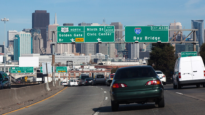 """Highway 101 in San Francisco was named a """"Risky Road"""" on the 15th annual Allstate America's Best Drivers Report. To spur positive change in communities, Allstate is lending a hand by offering $150,000 in grants that can be used for safety improvement projects on these 15 """"Risky Roads."""" (PRNewsfoto/Allstate)"""