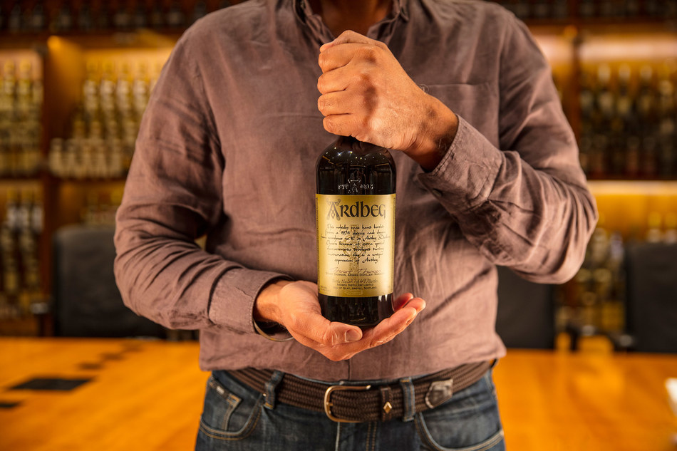 Sukhinder Singh, co-founder and owner of The Whisky Exchange holding Ardbeg 1976 Manager's Choice