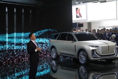 Xu Liuping, président du FAW Group, s'exprime lors du Salon de l'automobile de Francfort (IAA). (PRNewsfoto/Xinhua Silk Road Information Se)