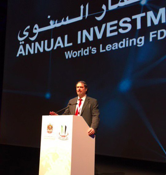 Dr. Christopher Papile on the podium in Dubai, UAE