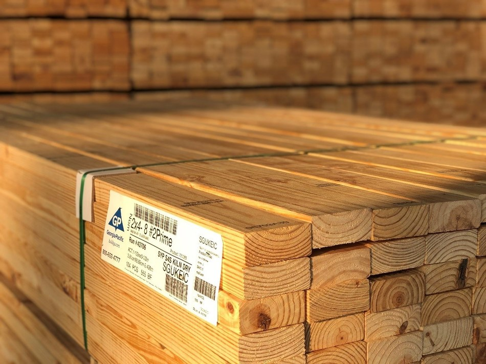 Stacks of Southern pine 2x4's are readied for transport at the shipping docks at Georgia-Pacific's sawmill in Gurdon, Ark.  GP announced a two-year, $70 million upgrade to its plywood and lumber operations in Gurdon.  The two facilities have nearly 700 employees.