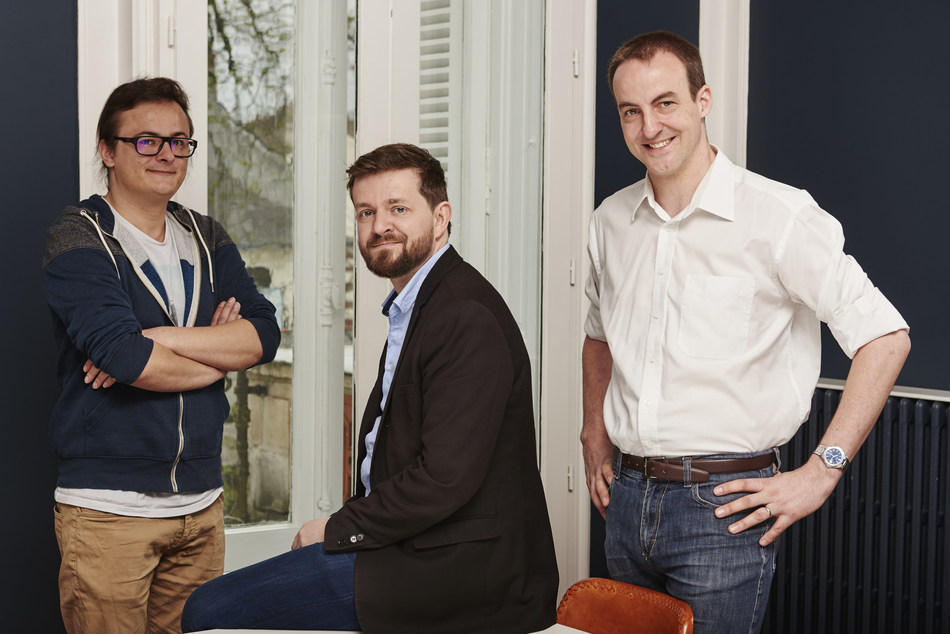 Akeneo Co-Founders Team: (from left to right) Nicolas Dupont, VP of Engineering; Fred de Gombert, CEO; and Benoit Jacquemont, CTO.
