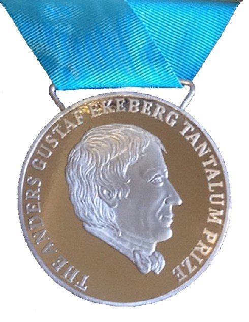 The Ekeberg Medal is made from pure tantalum (Ta) metal