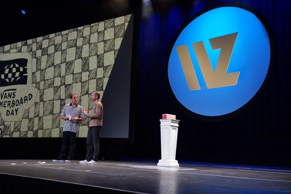 Doug and Nirvan make joint Vans Checkerboard Day announcement during keynote speech at WORLDZ 2019.