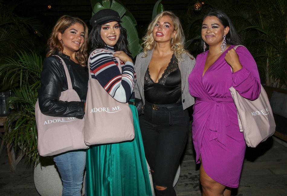Plus models Frankie Tavares, Stephanie Rosa, Sarina Nowak and Daisy Christina at the Adore Me NYFW party held at Gitano in NYC.