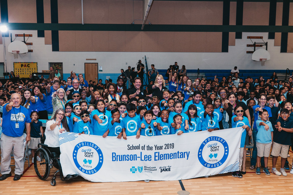 """Blue Cross Blue Shield of Arizona And Fitness Icon Jake """"Body by Jake"""" Steinfeld Present $100,000 Fitness Center To Brunson-Lee Elementary School"""