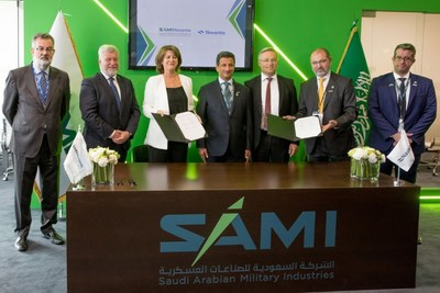 (L to R): Mr. Vicente Santamaria, Director of Systems at Navantia; Mr. Gonzalo Mateo, COO of Navantia ; Mrs. Susana de Sarria, Chairwoman of Navantia S.A.; H.E. Ahmed Al-Khateeb, Chairman of SAMI ; Dr. Andreas Schwer, CEO of SAMI ; Mr. Antonio Rodriguez-Barberan, CEO of SAMI-Navantia ; Mr. Ahmed Al-Ghuneim, CFO of Sami-Navantia